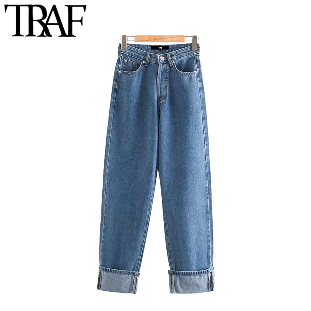 TRAF Women Vintage Stylish High Waist Straight Jeans Fashion Buttons Fly Pockets Denim Pants Female Ankle Trousers Pantalones