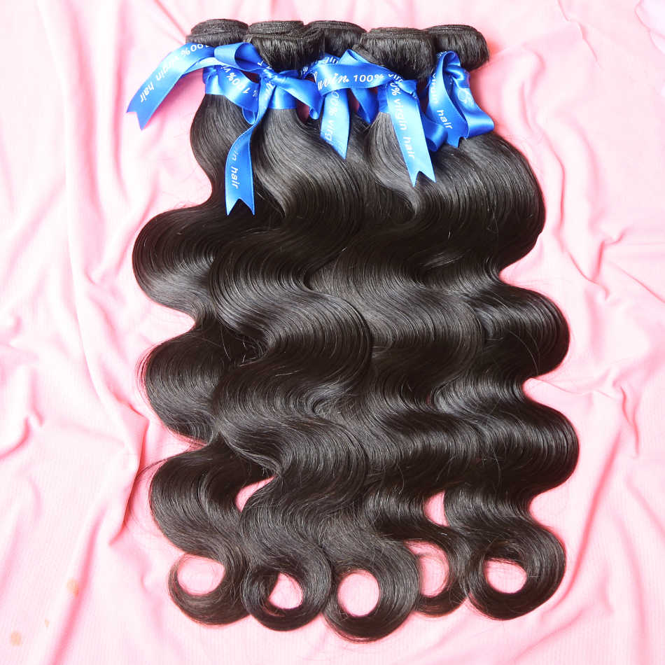 Luvin Brazilian Hair Weave Bundles Remy Hair 3 Bundles Lots Body Wave 100% Human Hair Extensions 30 Inch Bundles Natural Color