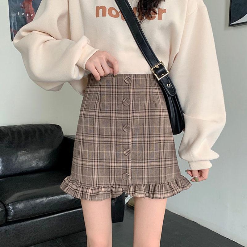 Women Summer Fairy A-Line Skirt Korean Harajuku Empire Plaid Mini Skirts Casual Female Y2k Above Knee High Waist Ruffles Skirts