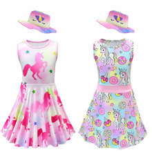2019 novo unicórnio conjunto de roupas crianças do bebê meninas roupas de verão sem mangas camisetas princesa festa tutu lol vestido