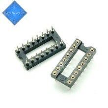 10 pçs / lote DIP-16 Orifício redondo 16 pinos 2.54 MM DIP 2.54 DIP16 Sockets Adaptador Solda 16 PIN Conector Em Estoque