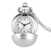 Smooth Black Ball Pocket Watch Women Classic Clock Necklace Chain Alloy Men Quartz Pendant Watch Kids Gift orologio da taschino fashion men women vintage quartz pocket watch alloy glass dome necklace pendant unisex sweater chain clock gifts ll 17