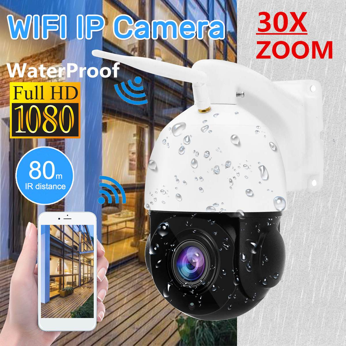 1080P WIFI 2.0MP PTZ IP Camera Pan/Tilt Speed Dome Camera Audio Waterproof Home Security Cameras Baby Sleeping Monitors