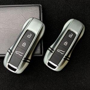 Ciemnozielone etui na klucze pokrywa dla Porsche Macan Cayenne Panamera Carman 911 971 9YA zdalnego alarmowego klucz twarda osłona z breloczek do kluczy