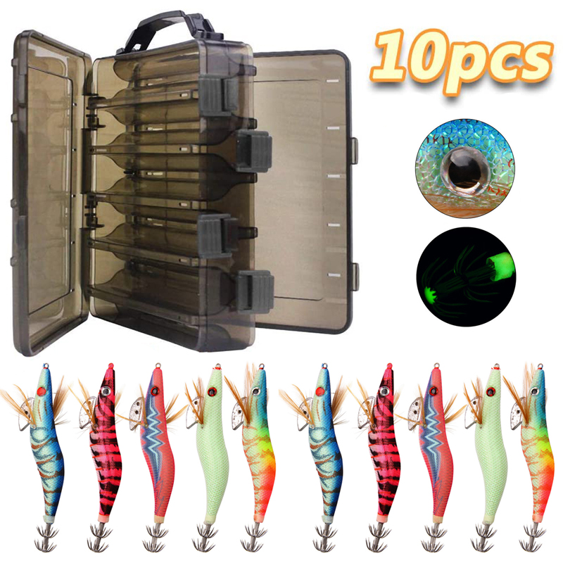 10pcs/box 12g 15g 21g Jig Fishing Squid bait hooks Wooden Shrimp Fishing Lure hook Artificial bait with double layer box|Fishing Lures| - AliExpress