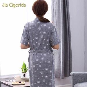 Image 5 - Robes Women Summer Shorts Cotton Bathrobe Plus Size Peignoir Femme Women Sleepwear Pijama Mujer Grey Floral Women Home Bathrobe