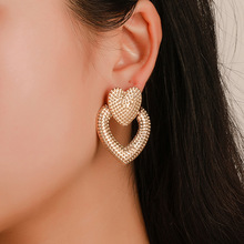 Personality Heart Frosted Earrings Metal Retro Hollowed Out Double Peach Earnails Female Black Ornaments