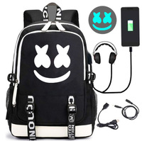 Allen Walker School Bag Faded Backpack alanwalker Electronic Music DJ Smiley Cotton Candy Student Backpack USB