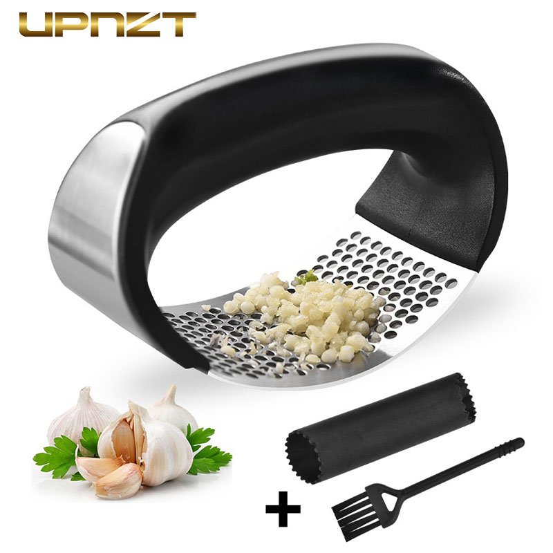 Stainless Steel Garlic Press Multi Function Manual Garlic Mincer Ginger Press Curve Fruit Vegetable Tools Kitchen Gadgets