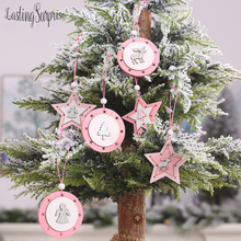 Pink Christmas Ornaments Wooden Star Pendant Home Decor Tree Hanging Style Card Gift