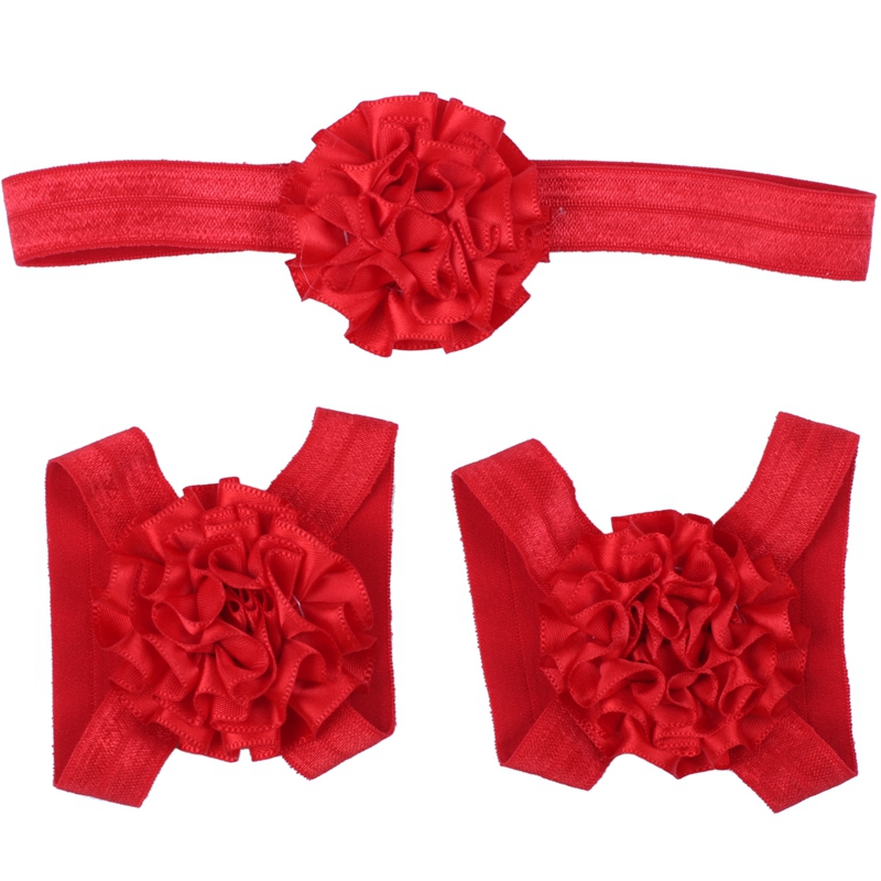 3 pieces set Baby Girls Toddler Flower Hairband headband Flower Barefoot