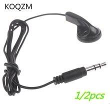 1/2 pçs universal 3.5mm único lado mono fone de ouvido na orelha fone de ouvido para telefones inteligentes mp3 preto