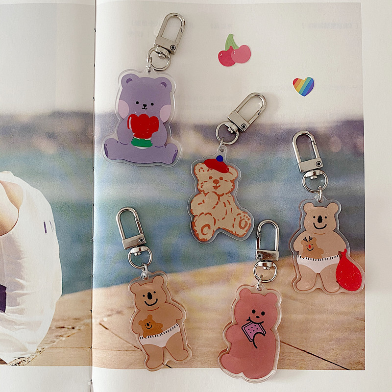Ins Cartoon Cute Bear Key Buckle Acrylic Student Backpack Stationery Creative Diy Decorative Pendant Accessories Key Management