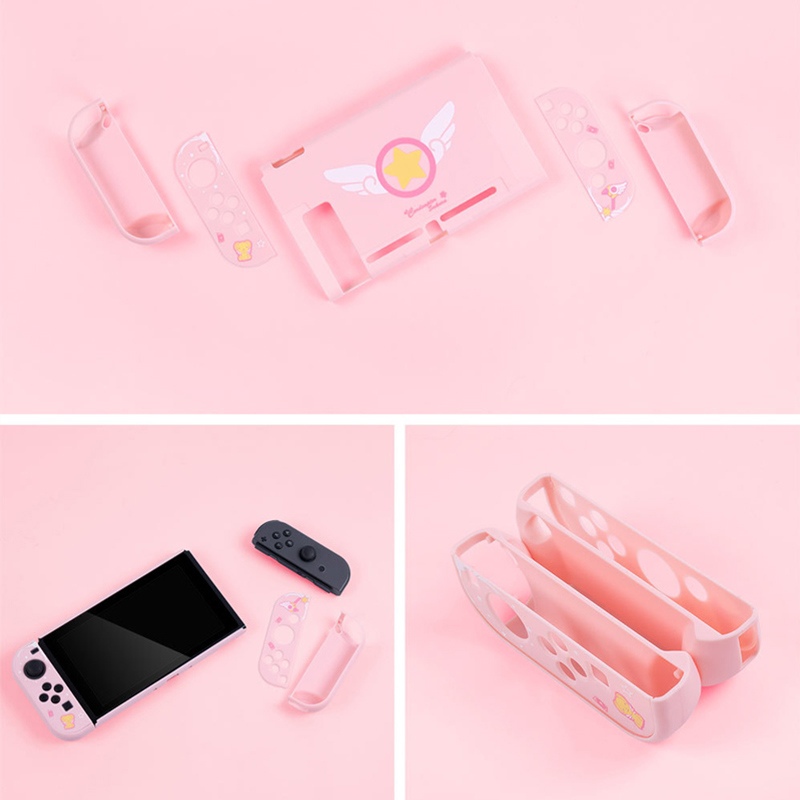 cheapest Girly Pink Protective Case For Nintendo Switch Full Controller Shell Hard Cover NS Game Case Box For Nintendo Switch Accessories