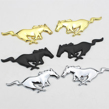 2 pcs Pair 3D Chrome Metal Running Horse Emblem Badge Car sticker Decals For Ford Mustang Shelby GT Auto Accessories