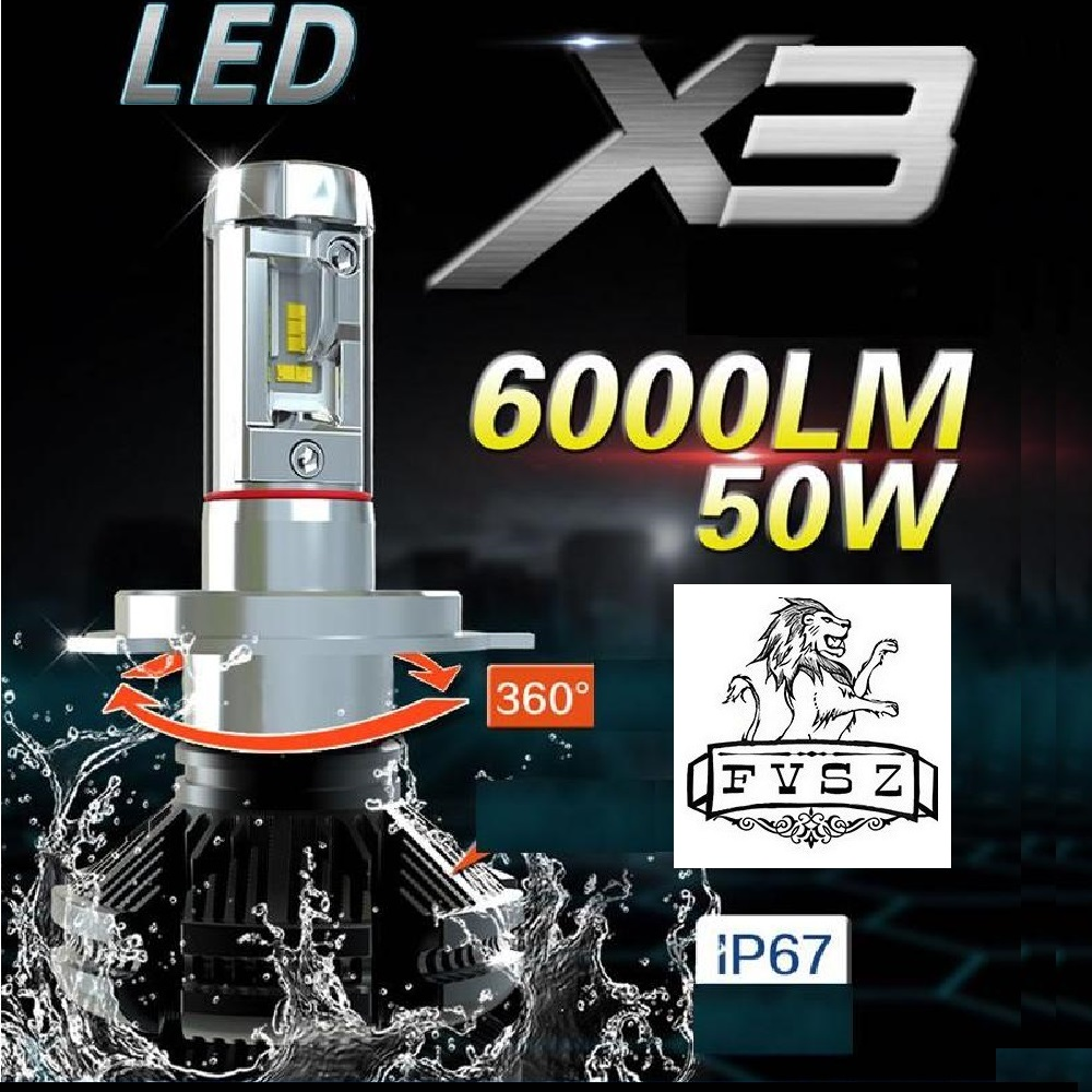 2Pcs H4 X3 LED Headlight Bulb H1 H3 H7 H8 9005 H11 9006 Ultra Bright Fog Lamp Hea Dlamps Refitted Distant Lights 6000K Auto Lamp