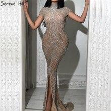 Champagne sirène manches courtes robes de soirée 2020 Dubai luxe paillettes robes de soirée conception sereine colline LA70196