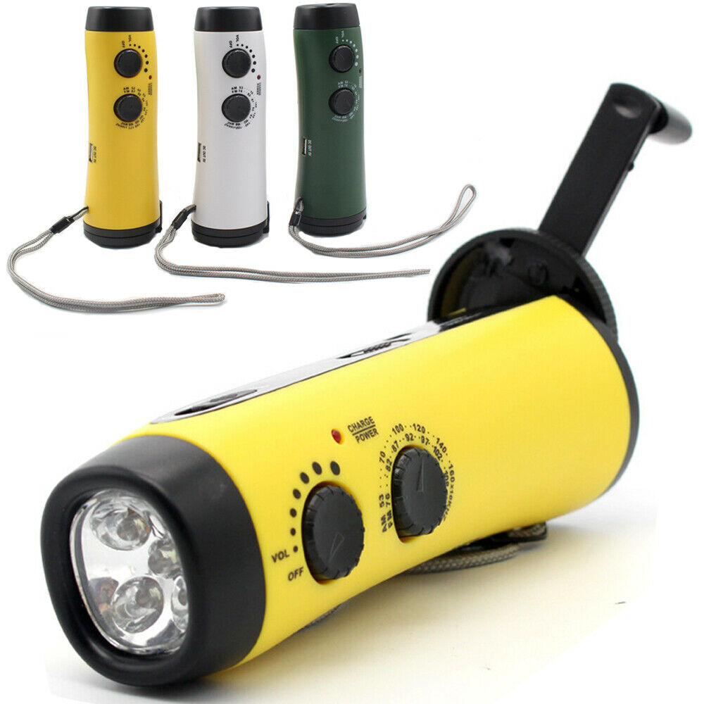 USB Portable Emergency Hand Crank Generator Solar AM/FM/WB Radio Flashlight Charger Outdoor Camping Light