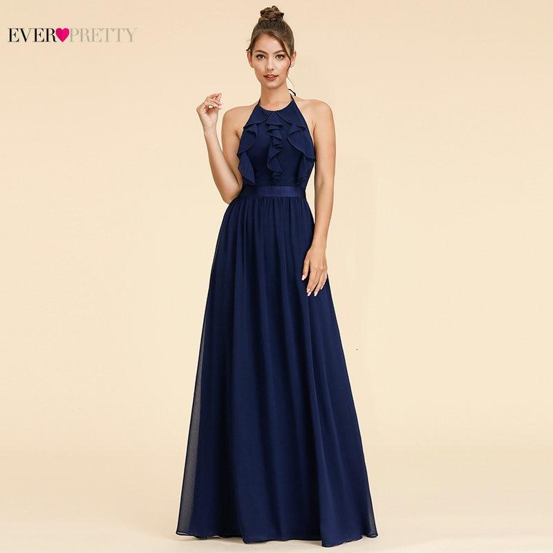 Ever Pretty Elegant Bridesmaid Dresses A-Line Halter Ruffles Sleeveless Simple Beach Style Chiffon Wedding Guest Dresses 2020
