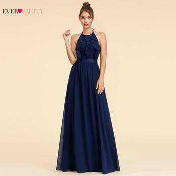 Kiedykolwiek dość eleganckie sukienki dla druhen krój a Halter Ruffles bez rękawów proste plaża styl szyfonowa sukienki na wesele 2020 tanie i dobre opinie Ever-Pretty Długość podłogi -Line Dla dorosłych EP07201BL Suknie druhna simple empire