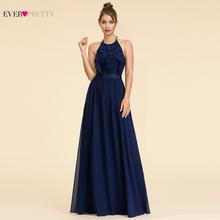 Kiedykolwiek dość eleganckie sukienki dla druhen krój a Halter Ruffles bez rękawów proste plaża styl szyfonowa sukienki na wesele 2020 tanie tanio Ever-Pretty Długość podłogi -Line Dla dorosłych EP07201BL Suknie druhna simple empire