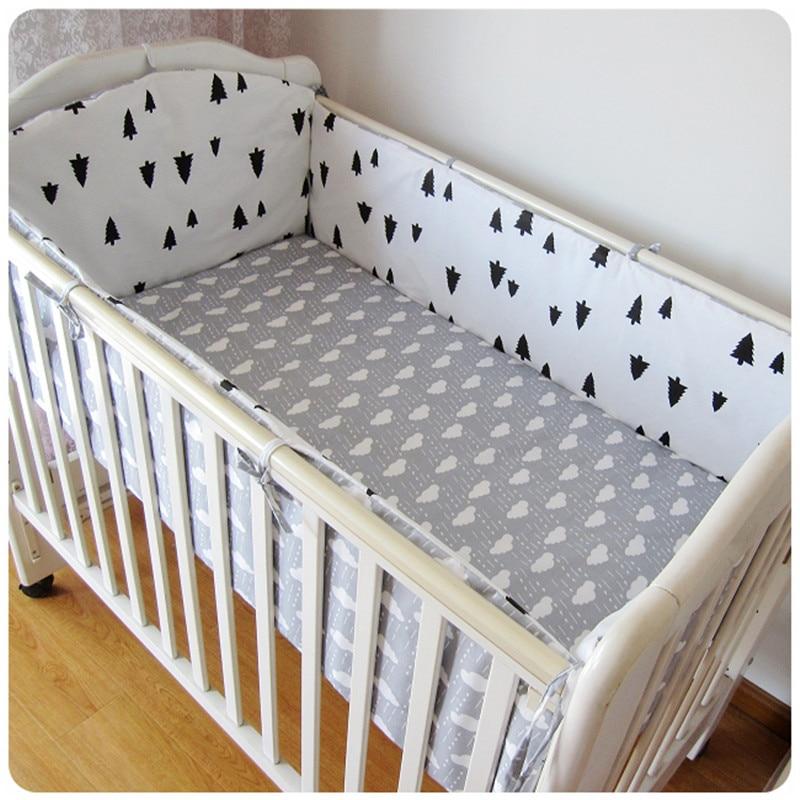 6PCS Crib Baby Bedding Set Cama Bebe Baby Nursery Bedding Crib Bumper Crib Protection Infant (4bumpers+sheet+pillow Cover)