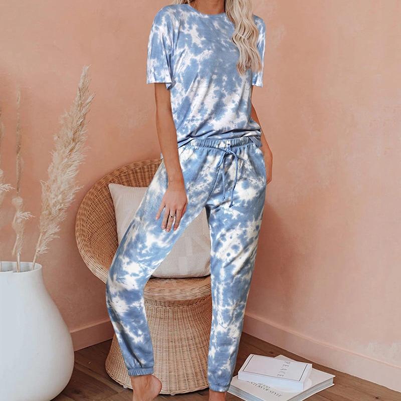 Print Belt Nightgown 2020 Discolour Summer Loungewear Women Pajama Set Plus Size Home Wear Sleepwear Top And Pants Pijama Mujer
