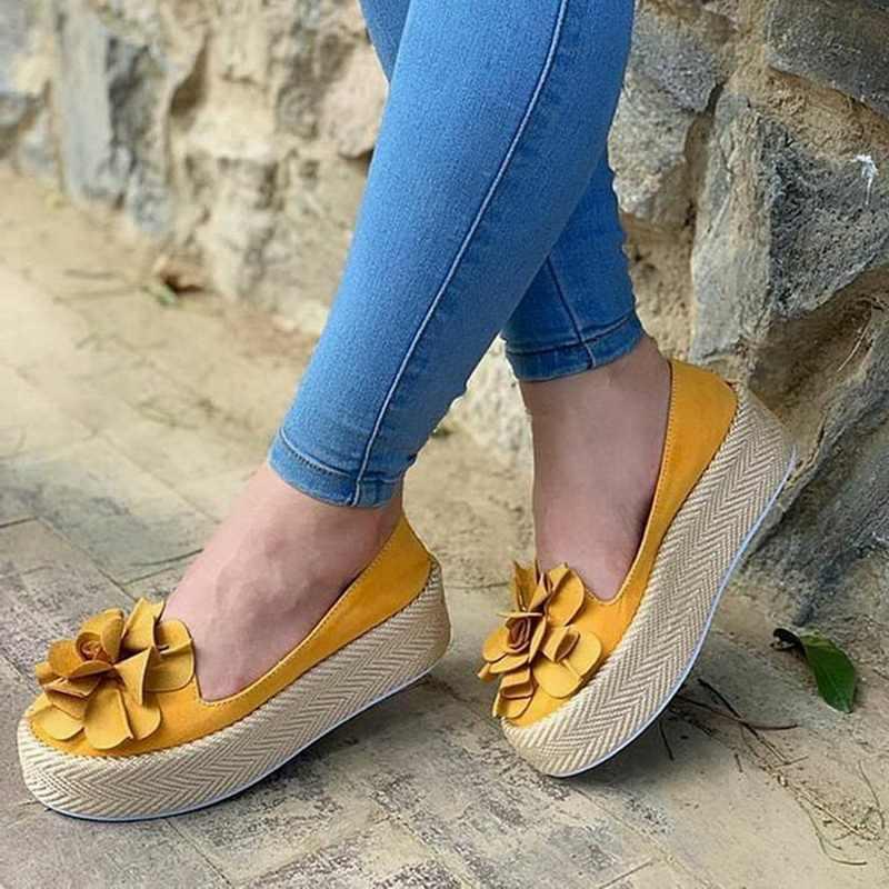 Monerffi (Drop Pengiriman) 2019 Musim Semi Sepatu Wanita dengan Bunga Dangkal Mulut Nyaman Anti-Slip Tebal Bawah Kasual Sepatu