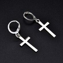 Fashion Men Women Metal Silver Hoop Cross Drop Dangle Ear Studs Earrings Party Punk Earring Jewelry long earrings