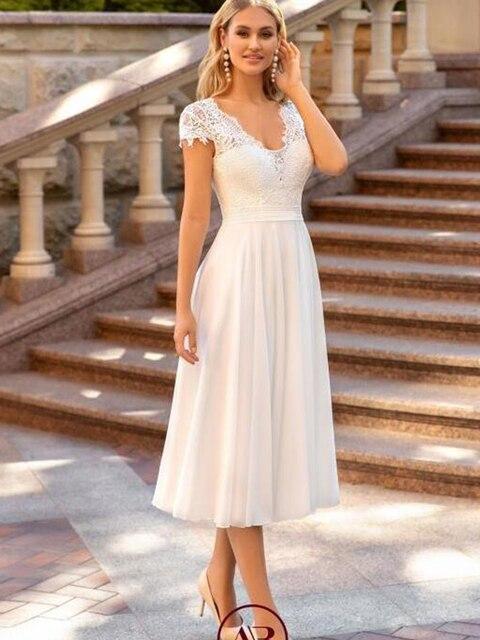 V-Neck Wedding Dress 2021 Short Sleeve Peals A-line Ankle Length Bridal Gown Robe De Mariee For Petite Women Brides Gorgeous 3