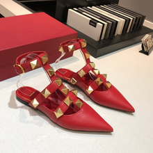 Flat-Shoes Sandals Pointed-Toe Mules Ankle-Strap Summer Fashion for Women Natural Lady