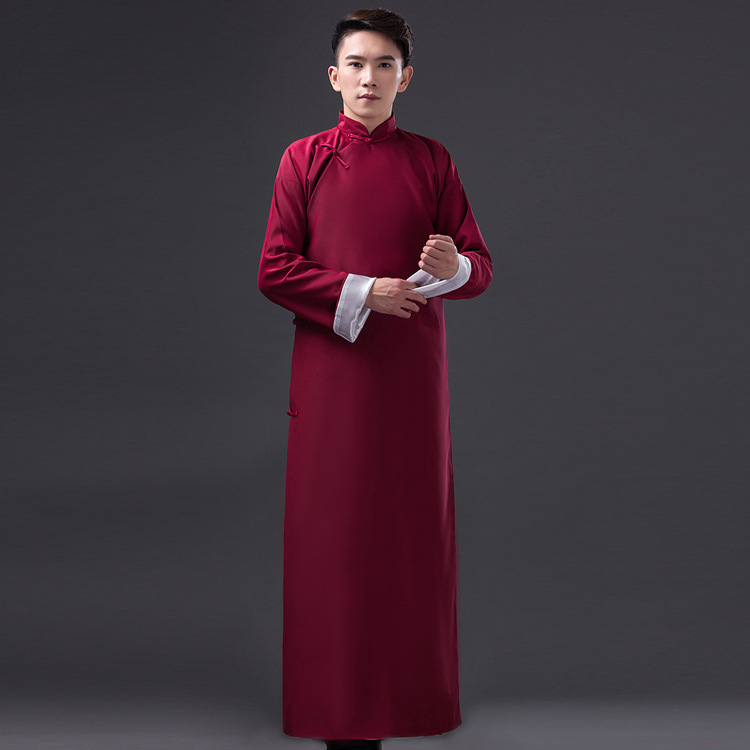 Elegant Men Burgundy Ancient Long Robes Gown Crosstalk Gown Vintage Mandarin Collar May 4th Republic Of China Students Costume