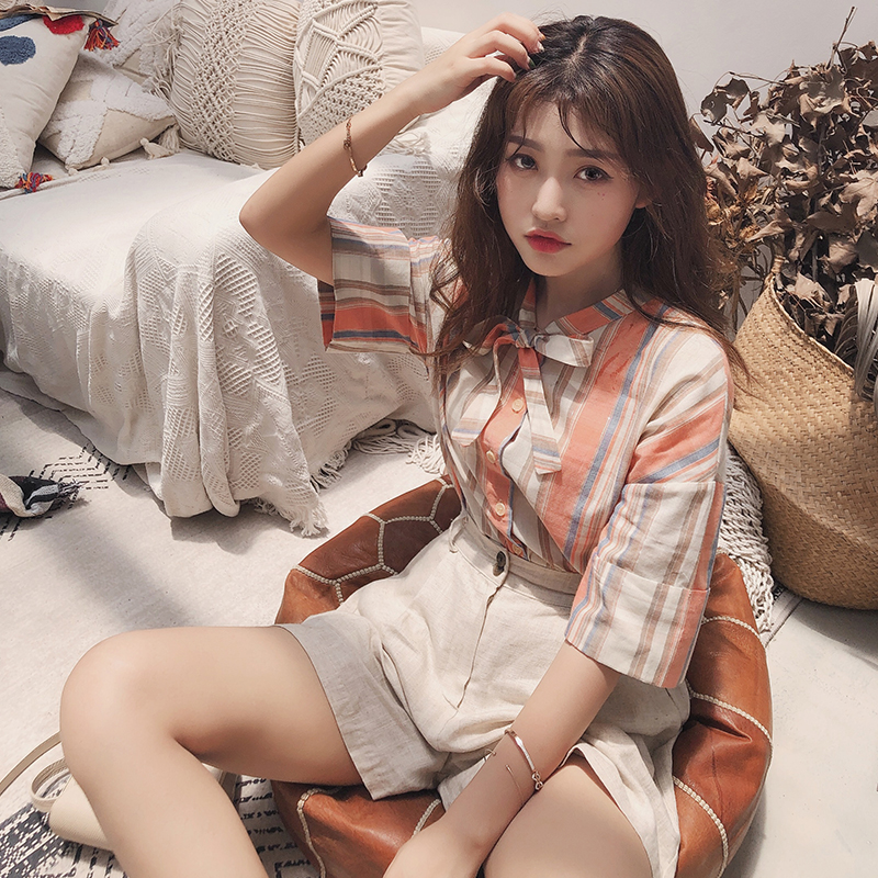 Mishow Summer Fashion Stripe Shirt 2019 Women Causal Daily Bow Neck Short Sleeves Single-breasted Loose Shirt Tops MX19B4955