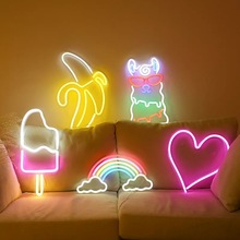 Big Size LED Neon Light Ice Cream Wall Art Sign Bedroom Decor Rainbow Hanging Night Lamp Home Party Holiday Decor Xmas Gift