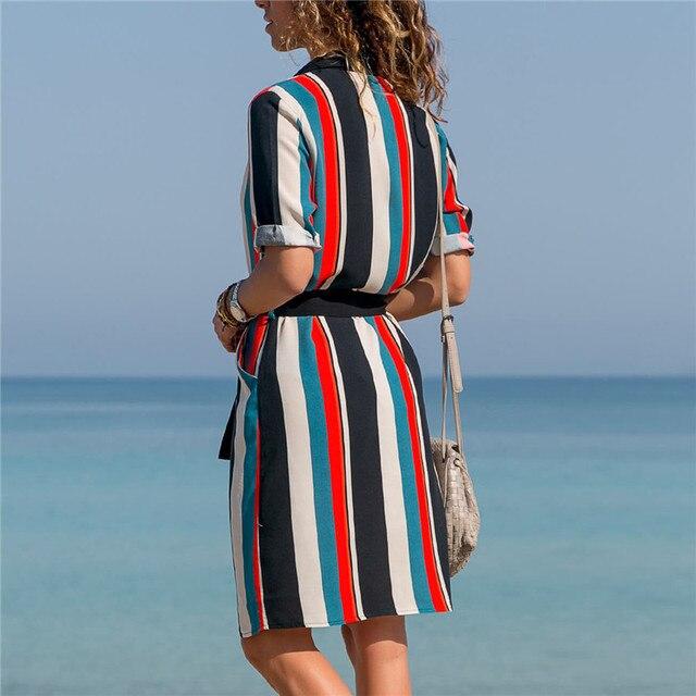 Striped V-Neck Summer Dress 2