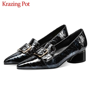 Image 1 - Krazing Pot print mixed colors cow leather fashion elegant belt buckle pointed toe med heels slip on spring daily wear pumps L40