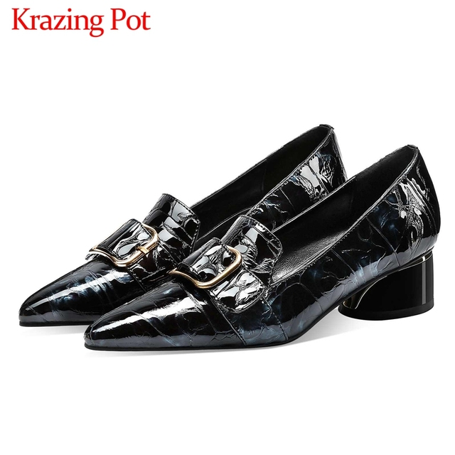Krazing Pot print mixed colors cow leather fashion elegant belt buckle pointed toe med heels slip on spring daily wear pumps L40
