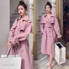 Outwear Trench-Coat Spring Women Windbreaker Bella Street Double-Breasted Long Fashion