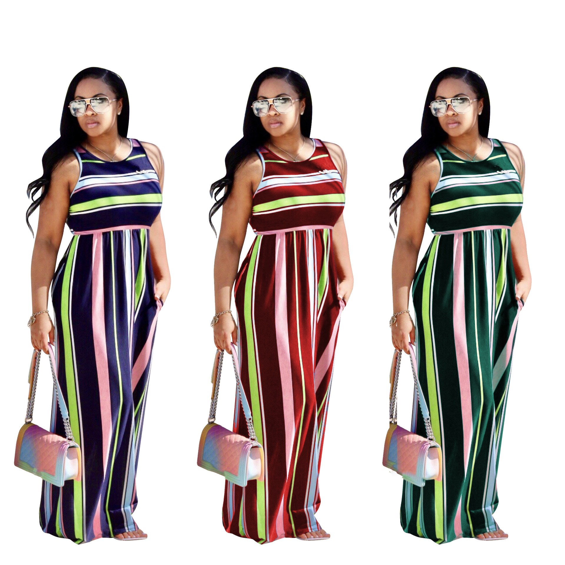 Nice Multicolor Striped Dress Women Elastic Sexy Sundress Casual Loose Long Red Dress