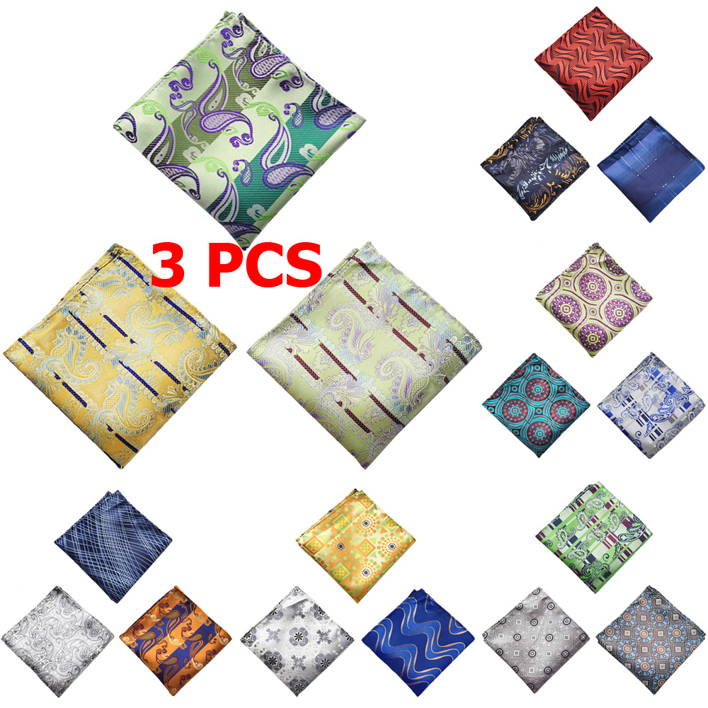 3 PCS Men Paisley Floral Pocket Square Handkerchief Wedding Party Colorful Hanky