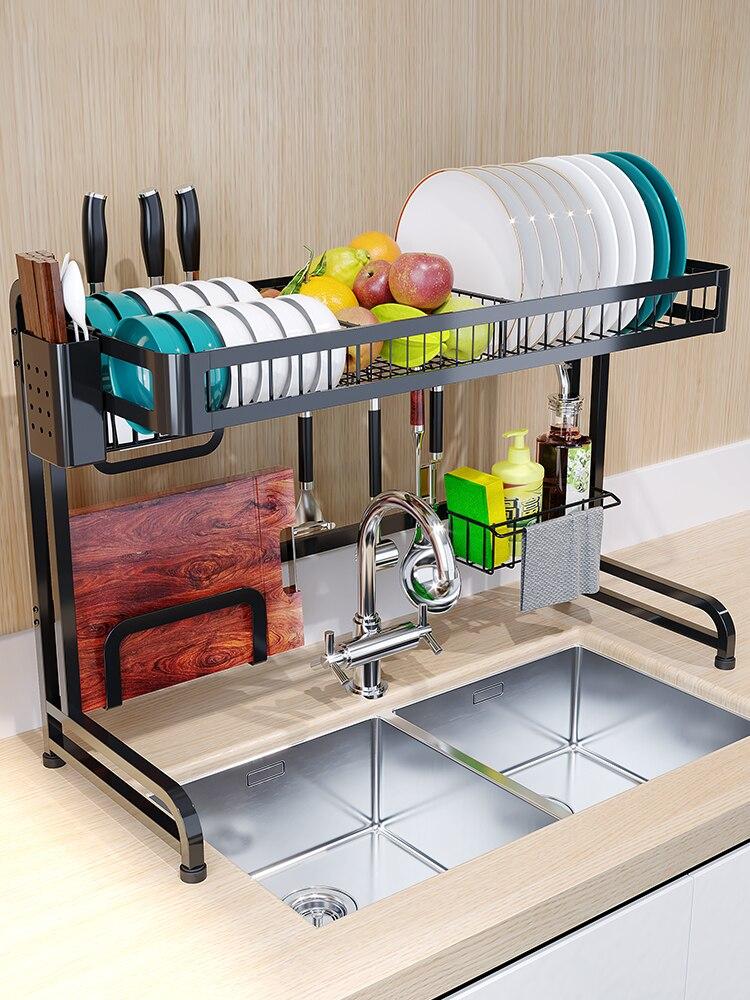 Multi-layers Stainless Steel Sink Rack Dish Rack Drain Rack Household  Kitchen Storage Rack Tableware Drying Stand Rack