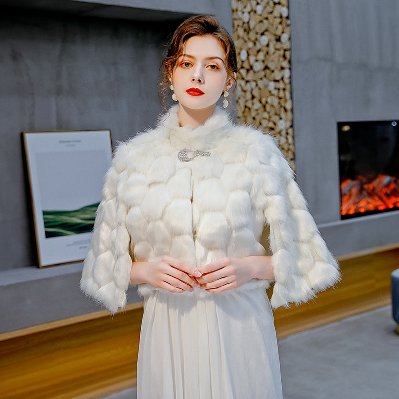 Fur Wedding Capes Faux Fur Wedding Wrap Women Bridal Party Jacket High Neckline Winter Bolero Outerwear