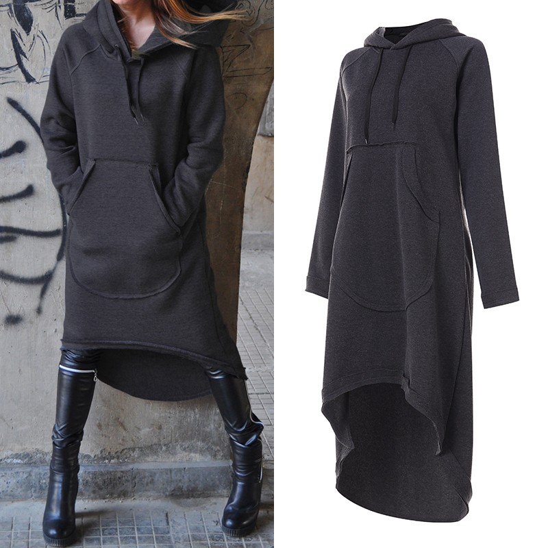 Plus Size Women's Sweatshirts Midi Hoodies Dress 2020 ZANZEA Irregular Vestidos Female Long Sleeve Casual Hooded Pullovers 5XL