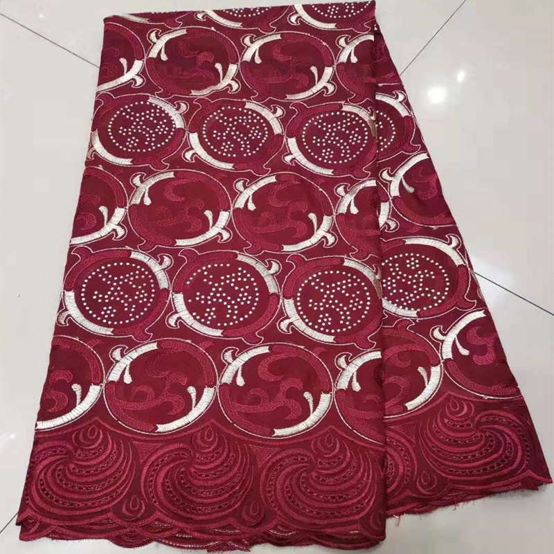 Best Selling Burgundy African French Wax Lace Fabric High Quality Beaded Nigerian George Lace Fabric For Wedding Party