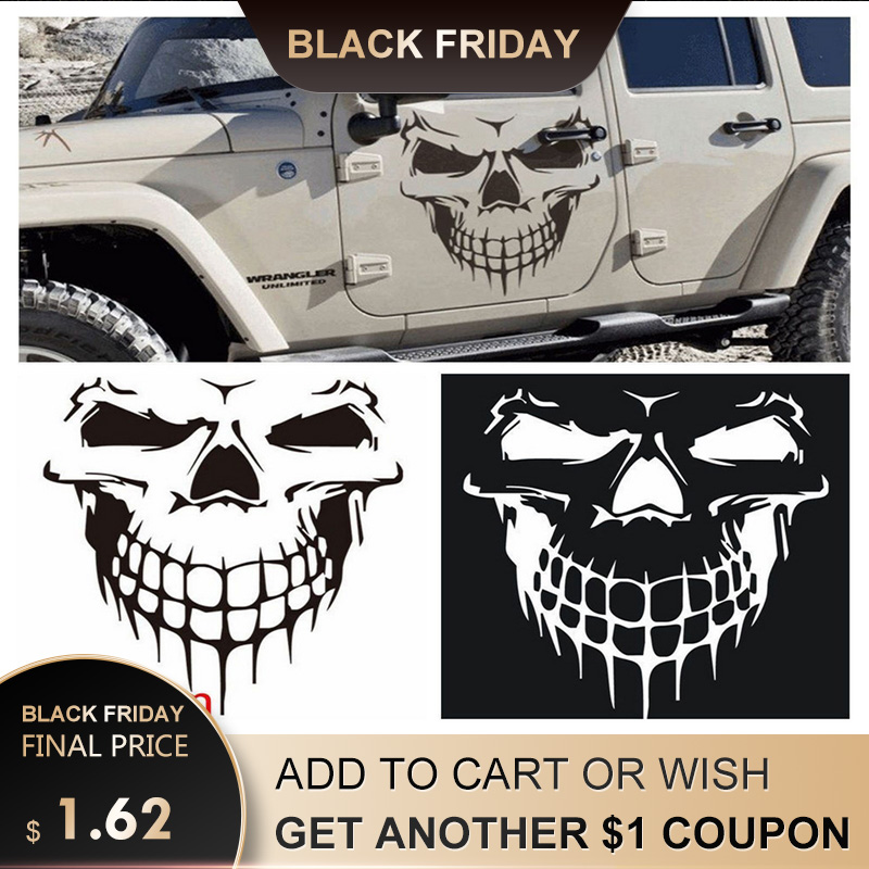 Big 40*36cm Car Stickers Skull Head Reflective Vinyl Car Styling Car-covers Acce