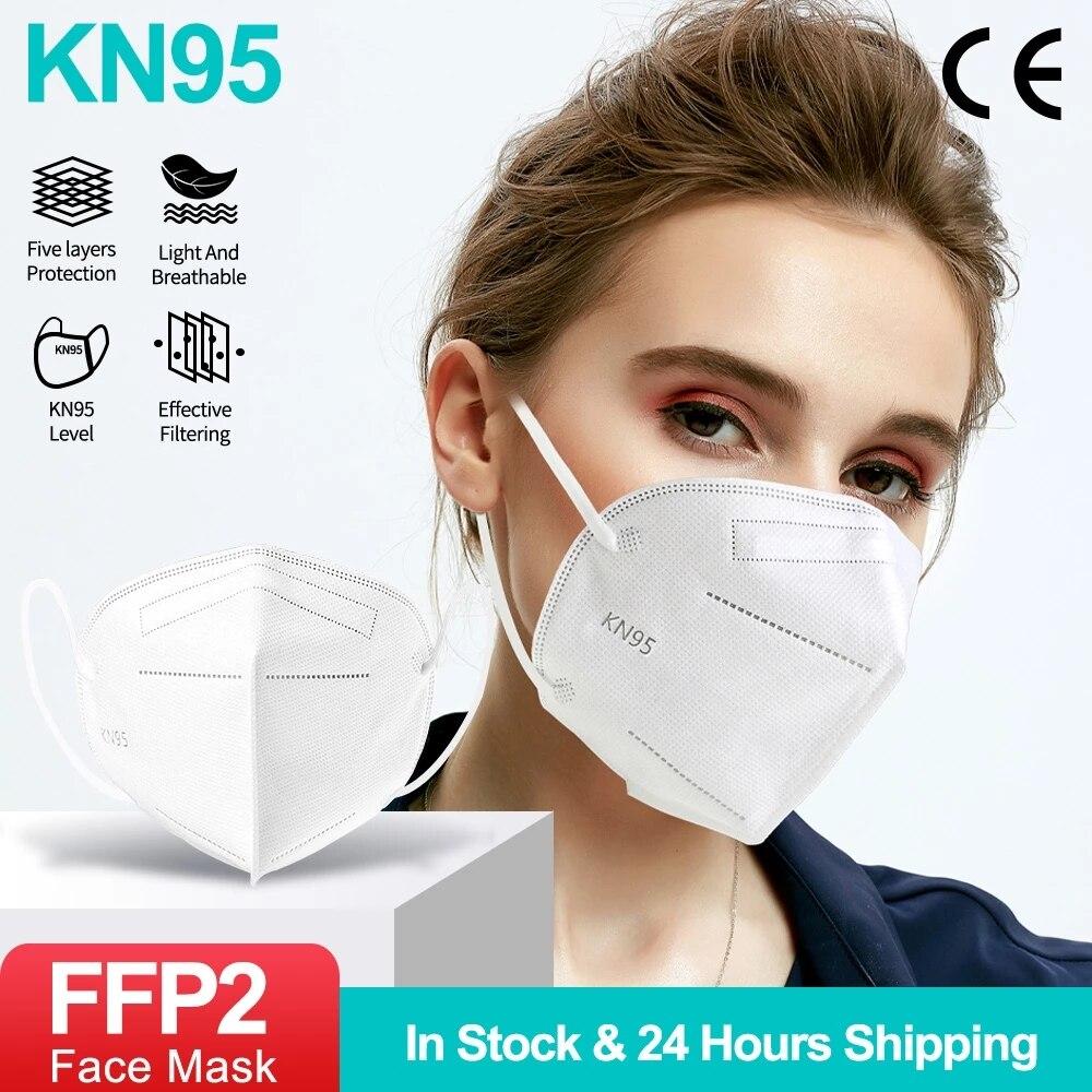 5-100 шт. маска для лица KN95, маски для лица FFP2 CE, маска с фильтром, маска для взрослых, маска с фильтром, маска для лица