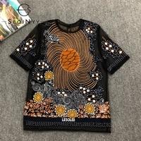 SEQINYY Runway T Shirt 2020 Summer Spring New Fashion Design Women Short Sleeve Vintage Art Embroidery Flowers Mesh Black Top