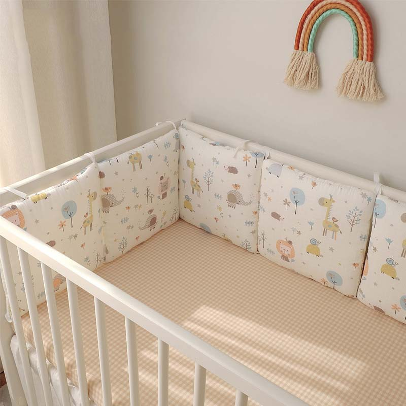 6Pcs/Set Baby Bed Bumper INS Nordic Baby Room Decor Muslin Cotton Sides In The Crib For Newborns Cradle Protector Infant Cushion