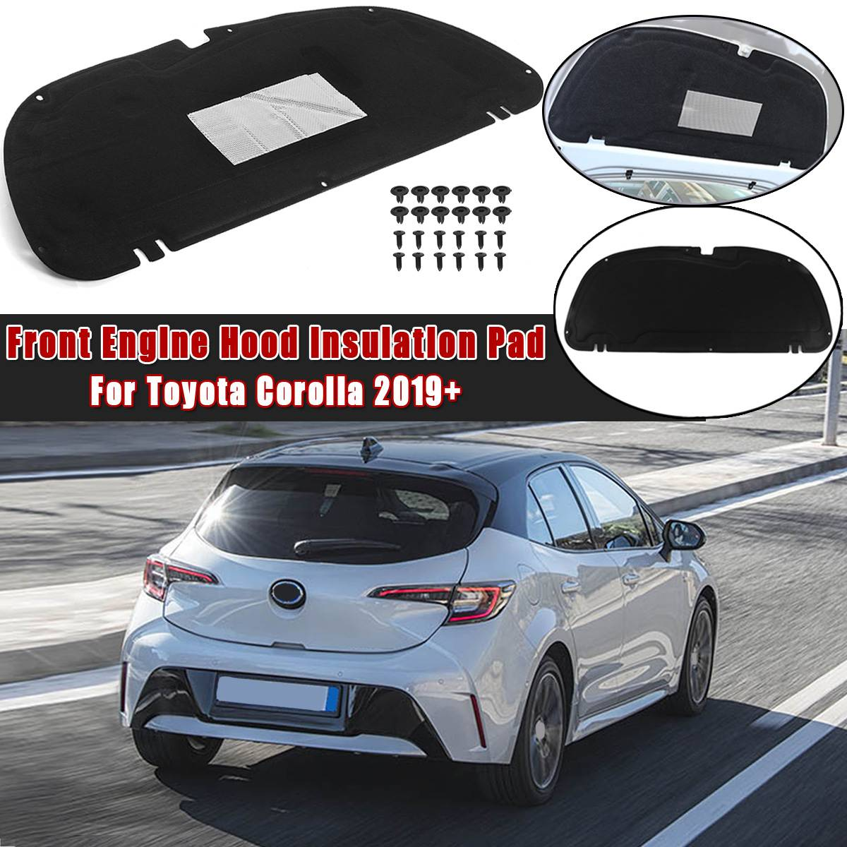 Car Hood Engine Firewall Mat Pad Cover Deadener Interior Heat Sound Insulation Cotton For TOYOTA Corolla 2019 2020+ Car Accessor