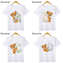 Summer 2021 Baby Girls T shirt Cute Bear 26 Letters Print Birthday Party Funny Kids T-shirts Boys Clothes Children Tops,HKP2479